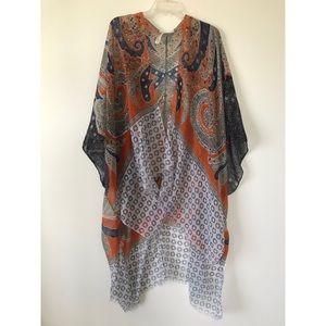 Boho shawl kimono Anthropologie size S navy orange